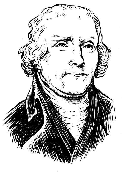 Thomas Jefferson, portrait, founding fathers, Wayne Shellabarger, Illustration, poster