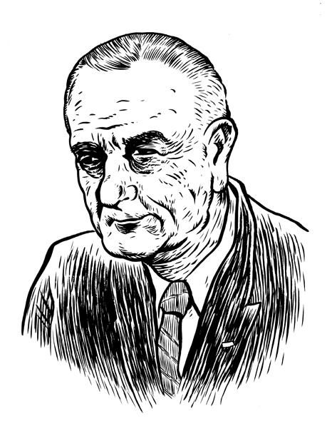 LBJ, Lyndon johnson, portrait, Wayne Shellabarger, Illustration, poster