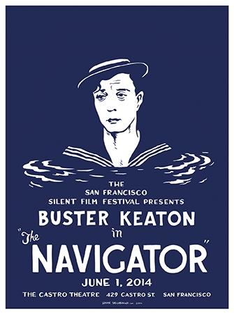 Silent film, SFSFF, San Francisco Silent Film Festival, Castro Theatre, silkscreen, Wayne Shellabarger, illustration, poster, Buster Keaton, navigator